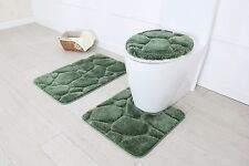 Hotel Collection 3 Piece Premium River rock Bath rug set 100% Polyester (Sage)