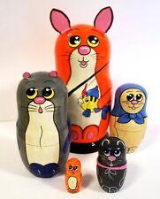 Hand Painted Fishing Cats Nesting Dolls Set of 5 Pcs  Artist Signed Matryoshkas