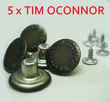 - New - 5 x 12mm Press/Hammer On Bronze Dark Brass Denim Jeans Buttons & Pins