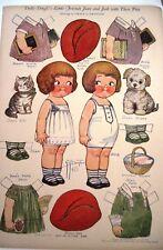 "1927 ""Dolly Dingle"" Paper Doll by G.G. Drayton-Friends Joan & Jack w/ Pets *"