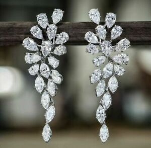 White Pear Marquise 925 Sterling Silver Cocktail Party CZ Solid Earrings