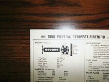 1968 Pontiac & Firebird Six Series Models 175Hp 250 Ci L6 1Bbl Tune Up Chart