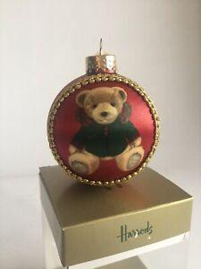 Harrods Limited Edition Silk Panel Christmas Bear Bauble 2020