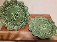 "2 Bordallo Pinheiro 8"" Green Bunny Rabbit Accent Salad Luncheon Plates Portugal"