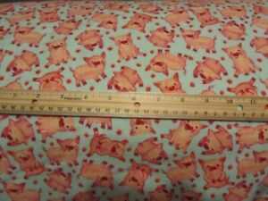 2 Yards Blue With Posing Pigs Toss Flannel Fabric