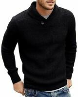 Mens Shawl Collar Slim Fit Knitted Sweater Pullovers Long Sleeve Casual Sweaters