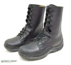 NEW Swiss Army Para Boots Black Leather New Issue Combat Paratrooper Boot
