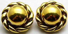 Vintage VOGUE BIJOUX Clip On Earrings Domed Circles Rope Edges Nice Gold Tone
