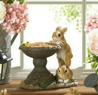 SMALL bunny rabbit raised pedestal Bird Bath seed feeder outdoor garden statue