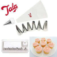 Icing Piping Bag Nylon 6 Nozzles Set Cake Cupcake Decorating Sugarcraft Tool Cup