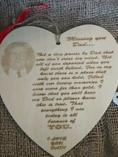 Personalised Laser Engraved In Memory of Dad with Photograph. Keepsake, Memorial