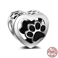 925 Sterling Silver Cat Claw European Bead Charms Heart Hollow Beads Pendant