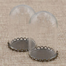 2pcs Cutest Miniature Glass Display Bell Tray Jar Dome Doll Storage Chic Gift