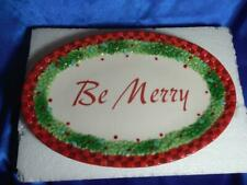 Christmas Fitz & Floyd Vintage Collectible Be Merry Sentiment Tray, Cookie Plate
