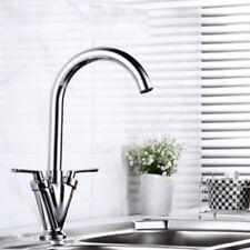 Modern Swivel Spout Mono Kitchen Sink Mixer Tap Twin Lever Chrome Brushed Basin