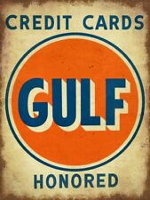 GULF CREDIT CARDS HONORED HEAVY DUTY USA MADE METAL GAS STATION ADVERTISING SIGN