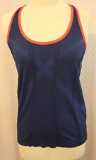 Ladies Avia Active Bodymapped Singlet in Royal Blue with Neon Trim Sz L NWT