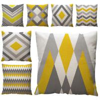 Yellow Geometric Throw Pillow Case Cushion Foundation Cover Home Decor Cotton TJ
