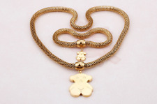 Stainless steel Vacuum gold plating Rough chain Teddy Bear Necklace Bracelet Set