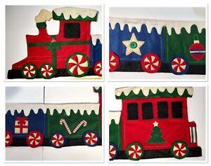 "Vintage FELT Christmas Train Wall Decor, Handmade Embellished, 6 Cars, 71"" Long"
