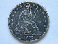 1875-CC Liberty Seated Half Dollar XF Detail