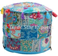 Indian Patchwork Vintage Ottoman Pouf Embroidered Pouffe Cover Round Footstool