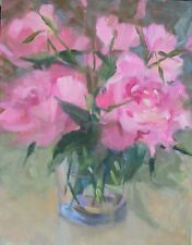 Peonies 3 pink,  peonies & Primroses in Glass vase 14x11 O/C Margaret Aycock