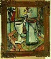 Postkubistisches Stillleben mit Gefäßen im Raum Öl Leinwand 1930 1940 Monogramm