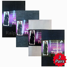 3 Pairs Girls School Tights Cotton Rich with Lycra in Black, Grey, Navy & White