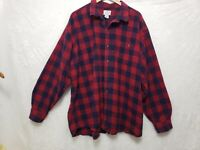 Blue Mountain Men's  4X RED Plaid Flannel Shirt Long Sleeve Pocket Button Up Cot