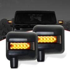 LED Rearview Side Mirror w/White & Amber Turn Signal Light DRL for Jeep Wrangler