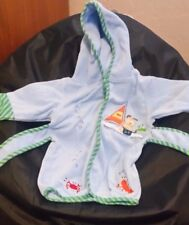 Toddler Infant Bath Robe Grooming Hooded Towel With Belt, Dogs Blue