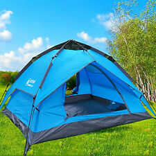 3 Person Blue Double layer Waterproof Family Camping Hiking Instant Dome Tent