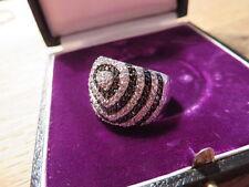 Atemberaubender 925 Sterling Silber Zirkonia Black&White Designer Spirale Top