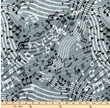 Music Notes Fabric 100% Cotton, Grey Background