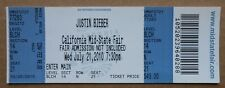 RARE JUSTIN BIEBER  7/12/2010 UNUSED CONCERT TICKET CALIFORNIA MID - STATE FAIR