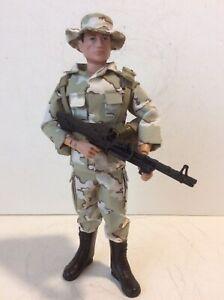 """GI Joe Custom 12"""" Tripwire Toys Modern Desert Camo Soldier W/ Machine Gun Mint"""