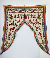 Vintage Door Valance Window Decor Wall Hanging Hand Embroidered 48 x 48 inch X24