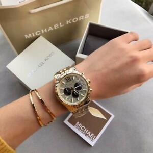 MICHAEL KORS Lexington Chronograph Gold Crystal Pave Dial Men's Watch MK8494