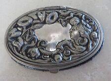 Antique Victorian Art Nouveau Silver Steel Ladies Oval Leather Coin Purse