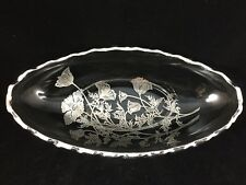 Flanders Poppy Glass Candy Dish Silver Overlay Silver City