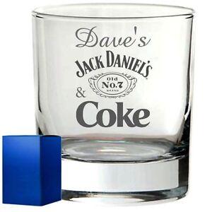 Personalised Whisky Glass engraved tumbler whisky whiskey jack daniels coke gift