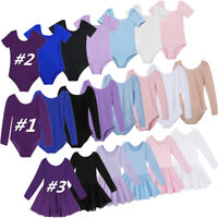 Ballet Dance Dress Girls Kids Gymnastics Long Sleeve Leotard Dancewear Costume