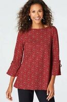 NEW J. JILL 2X 3/4 Sleeve Tie Top Pima Cotton/Modal/Sx Floral Red Black
