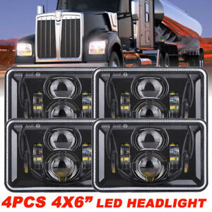 "4x 4x6"" inch 150W LED Headlight High Low Black Sealed Beam for Chevrolet Camaro"