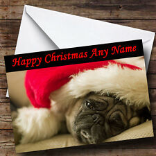 Cute Pug Dog Wearing Red Xmas Hat Personalised Christmas Greetings Card