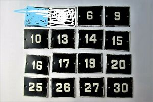 OLD ENAMEL PORCELAIN TIN SIGN PLATE NUMBERS Cobalt Blue  6,10,13,14,15 and other