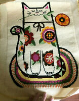 Vintage 60's Needlepoint Tapestry Cat WALL HANGING Hippie, Flower Power, To Line