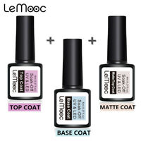 LEMOOC Base Matte Top Coat UV Gel Vernis à ongles Soak Off UV/LED Nail