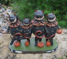 Halloween Dancing BLACK CATS & PUMPKINS Figurine SCULPTURE*Whimsical Fall Decor